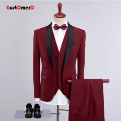 GustOmerD Men Suit New Plaid Fabric Business Mens Suits Slim Fit Blazers brand Male Wedding dress Wine red 165/80A