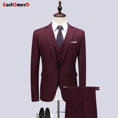 GustOMerD Mens Suits Business Men Suit Slim Fit Casual Jacket Wedding Dress For Men Suits 3 Pics wine red size M 45 to 52kg