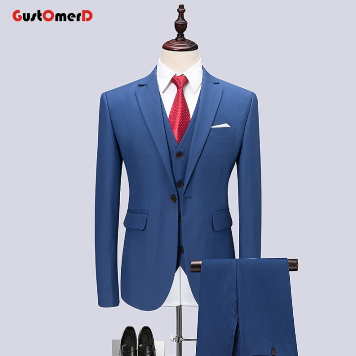 GustOMerD Wedding Dress For Men Suit Business Men Suit Slim Fit Casual Jacket Fashion Gentleman Coat blue size M 45 to 52kg
