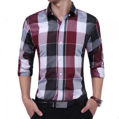 New FashionMen's Shirt Stylish Pointed Collar Long Sleeve Plaid Shirt Causal Men Clothing red size l 58 to 65kg