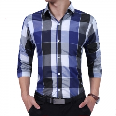 New FashionMen's Shirt Stylish Pointed Collar Long Sleeve Plaid Shirt Causal Men Clothing blue size xl 65 to 72kg