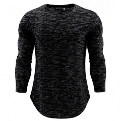GustOmerD New Fashion Men Tshirt High quality Long Sleeve Sweater Men Clothing Plus size black size m 58 to 65kg Cotton & Polyester