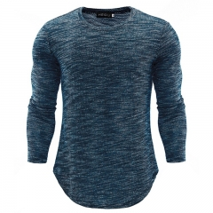 GustOmerD New Fashion Men Tshirt High quality Long Sleeve Sweater Men Clothing Plus size peacock blue size m 58 to 65kg Cotton & Polyester