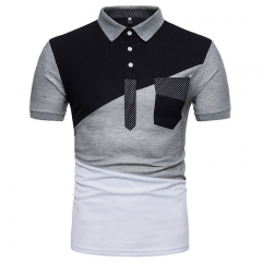 GustOmerD New Men's Irregular Color Splicing Short Sleeved POLO Shirt black size s 50 to 58kg cotton & polyester
