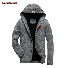 GustOmerD High Quality Mens Hooded Knitted Hoodie Slim Fit Coat Warm Long Sleeve Sweatshirts grey size M 45 to 57kg