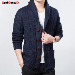 GustOmerD Men's Sweater Outwear Fashion Men Solid Color Sweaters Slim Mens Clothing Cardigans Male navy size m 55 to 65kg