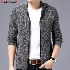 GustOmerD New Men Cardigan Men Wool Cotton Mens Hooded Sweaters Man's Knitwear Clothes Sweatercoats grey size m 50 to 58 kg