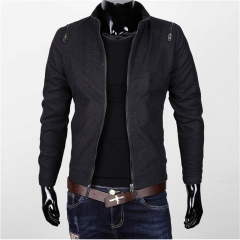GustOmerD New Fashion Pure Cotton Men Jacket Washed Stand Collar Jacket Men Clothig Slim Fit Coats black size l 58 to 65kg