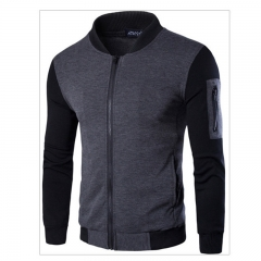 GustOmerD New Style Spring Clothing England Stand Collar Skin sleeve splicing Trend Men Jacket gray size l 58 to 65kg