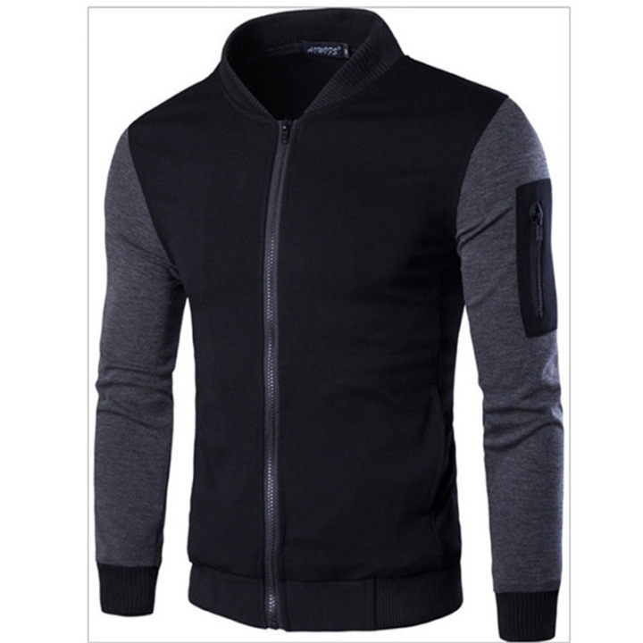 GustOmerD New Style Spring Clothing England Stand Collar Skin sleeve splicing Trend Men Jacket black size m 50 to 58kg