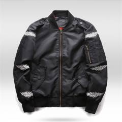 GustOmerD New Brand Feather Print Jacket Fashion Mens Jacket High quality Coats Men black size m 58 to 65kg