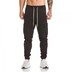 GustOmerD 2018 New Casual Elastic String Long Trousers Pocket Design Fitness Camouflage Pants black m