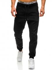 GustOmerD Casual Pants Men Brand Clothing High Quality Spring Long Khaki Pants Elastic Male Trousers black m