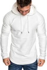 GustOmerD 2018 Men Soild Stripe Folds Hooded Long Sleeve Sportswear Hip Hop Tracksuit Coat white size m 45 to 52kg