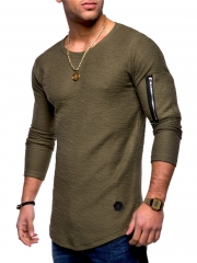 GustOmerD Long Sleeve Cotton T-shirts Men Hip Hop T-SHIRTS Zipper On Sleeve T-shirts Pure Color army-green size m 50 to 58kg cotton & polyester