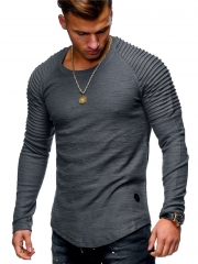 GustOmerD 2018 New Camouflage Stripe Men Hip Hop Patchwork Sweatshirt Pure Color Shirt gray size m 50 to 58kg cotton & polyester