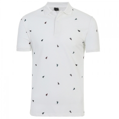 GustOmerD New Summer Casual Solid Color triangle Printing Short Sleeves Men's Polo Shirt white size m 50 to 58kg cotton & polyester