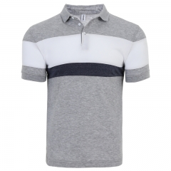 GustOmerD Summer New Short Sleeve Casual Contrast Color Mens Polo Three Color Striped Polo Shirt gray size m 50 to 58kg cotton & polyester