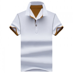 GustOmerD Summer Style Clothing Mens Polo Shirt Casual Short Sleeve Solid Polo Men Shirts white coffee size m 45 to 52kg cotton & polyester