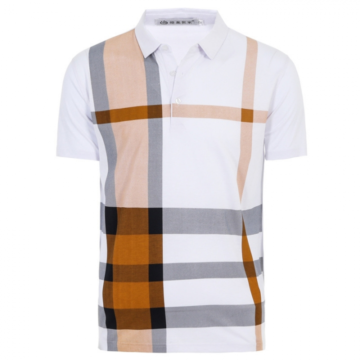 GustOmerD New Summer Men's Casual POLO Shirt Fashion Business Plaid Short Sleeve Polo Shirt yellow size m 58 to 65kg cotton & polyester