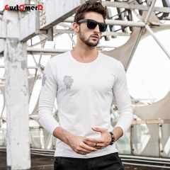 GustOmerD New Long Sleeves O-Neck T shirt Mens Slim Fit T shirt Mens Line Printed Tee Shirt For Men white size m 50 to 58kg cotton & spandex