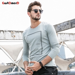 GustOmerD New O-Neck Grometric T shirt Mens Slim Fit T shirt Mens Long Sleeves Tee Shirt For Men green size m 50 to 58kg cotton & spandex