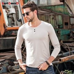 GustOmerD New Long Sleeves O-Neck T shirt Mens Slim Fit T-shirt Decorative buttons Tee Shirt For Men Khaki size m 50 to 58kg cotton & spandex