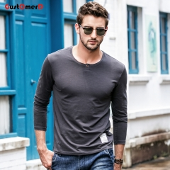 GustOmerD New T shirt Mens Slim Fit T shirt Mens Long Sleeves Decorative buttons Tee Shirt For Men gray size m 50 to 58kg cotton & spandex