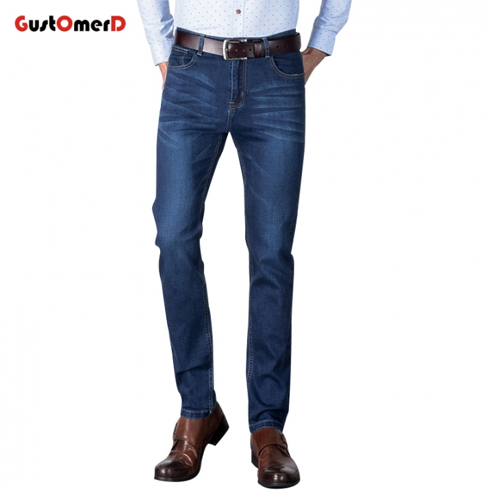 GustOmerD Stretch Men Jeans Luxury Men's Denim Trousers Slim Straight Gentleman Mens Stretch blue 28
