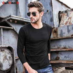 GustOmerD New T shirt Mens O-Neck Slim Fit T shirt Mens Long Sleeves Patchwork Tee Shirt For Men black size m 50 to 58kg cotton & spandex