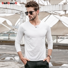 GustOmerD New T shirt Mens Slim Fit T-shirt Mens Long Sleeves Collar Buttons Tee Shirt For Men White size m 50 to 58kg cotton & spandex