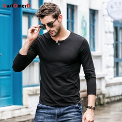 GustOmerD New T shirt Mens Slim Fit T-shirt Mens Long Sleeves Collar Buttons Tee Shirt For Men black size m 50 to 58kg cotton & spandex