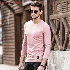 GustOmerD New T shirt Man Fashion Slim Fit T-shirt Mens Long Sleeves Pocket Design Tee Shirt For Men pink size m 50 to 58kg cotton & spandex
