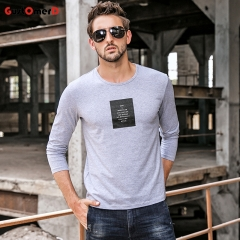 GustOmerD New Long Sleeves T shirt Mens Slim Fit T shirt Mens Printing Letter Tee Shirt For Men gray size m 50 to 58kg cotton & spandex