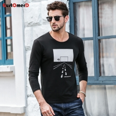 GustOmerD New T shirt Mens Slim Fit Long Sleeves Solid Color Men T shirt Printing Tee Shirt For Men black size m 50 to 58kg cotton & spandex