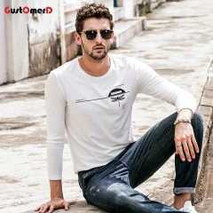 GustOmerD  New Long Sleeves T shirt Mens Slim Fit Dragonfly Print T shirt Mens Tee Shirt For Men white size m 50 to 58kg cotton & spandex