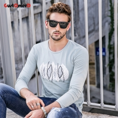 GustOmerD Slim Fit New Long Sleeves T shirt Mens Leaves Print T shirt Mens Solid Tee Shirt For Men green size xl 65 to 72kg cotton & spandex