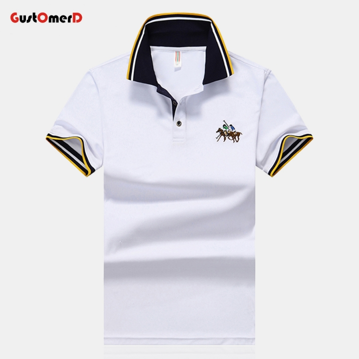 GustOmerD Men Polo Shirts Short Sleeve Slim Fit Casual Embroidery Business Fashion Dress Shirts white size 3xl 80 to 88kg cotton & polyester
