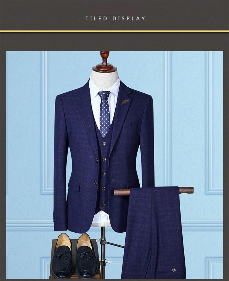 Gustomerd New High Quality Plaid Smart Casual Men S Suits Navy Blue