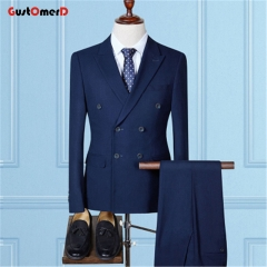 GustOMerD New High Quality Casual Double Breasted Men's Suits Navy Blue Suits Men Wedding Dress navy size m 45 to 52kg