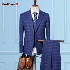 GustOMerD Double Breasted Man Suits Business Blazer Plaid Classic Tuxedos 3 Pieces Wedding Suit blue size m 45 to 52kg