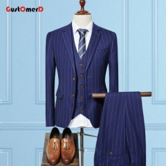 GustOMerD Striped Wedding Suits For Men Good Quality Single Button Mens Suit Set Tuxedos 3 Pieces navy size m 45 to 52kg