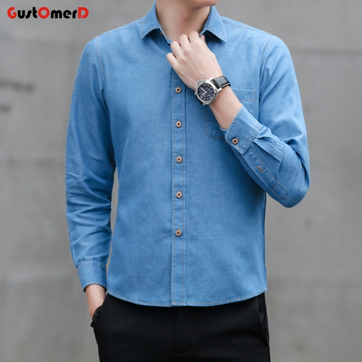 374b559ae0d GustOmerD New Fashion Men Denim Shirt Pure Cotton Long Sleeve Shirt Men  Casual Tops For Male