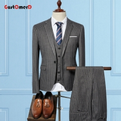 GustOMerD  Fashion Striped Men Suit Slim Fit Plus Size Good Quality Suit Wedding Groom 3 Piece Suit grey size m 45 to 52kg