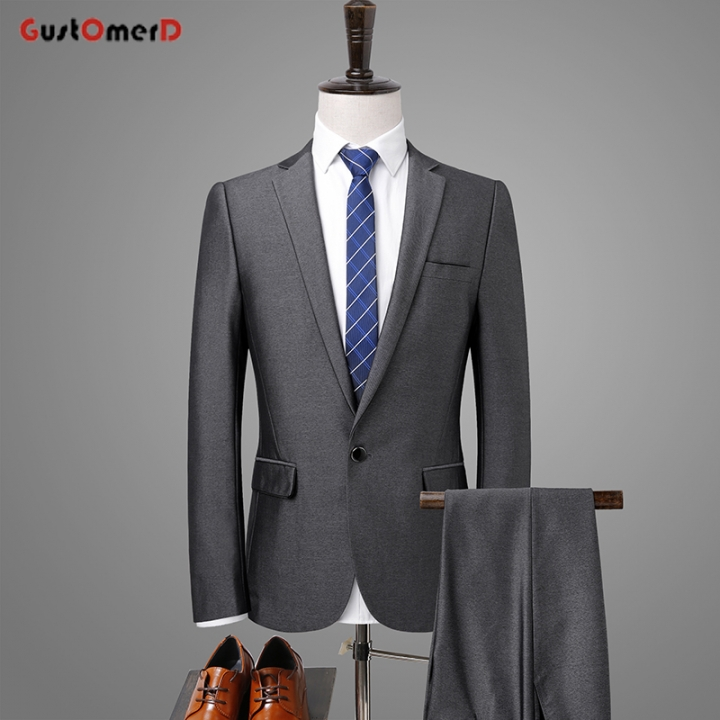 f62652d3dffe14 GustOMerD Men Suit Silver Gray Business Slim Fit Costume 2 Pieces Wedding  Suits for Men Prom