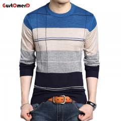 2018 New Clothing Sweater Men Fashion Plaid O Neck Slim Fit Winter Pullover Men Knitted Sweater Men blue size m 50 to 58 kg
