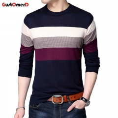 GustOmerD New Fashion Men's Sweaters stripe Breathable Slim Fit Men Pullover Knitted Sweater Men navy size m 50 to 58 kg