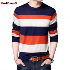 GustOmerD New Sweater Men Fashion O Neck Slim Fit Winter Pullover Men Breathable Knitted Sweater Men orange size m 50 to 58 kg