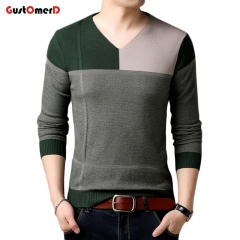 GustOmerD New Fashion Men's Sweaters Contrast Color Slim Fit Men Pullover V Neck Knitted Sweater Men green size m 50 to 58 kg