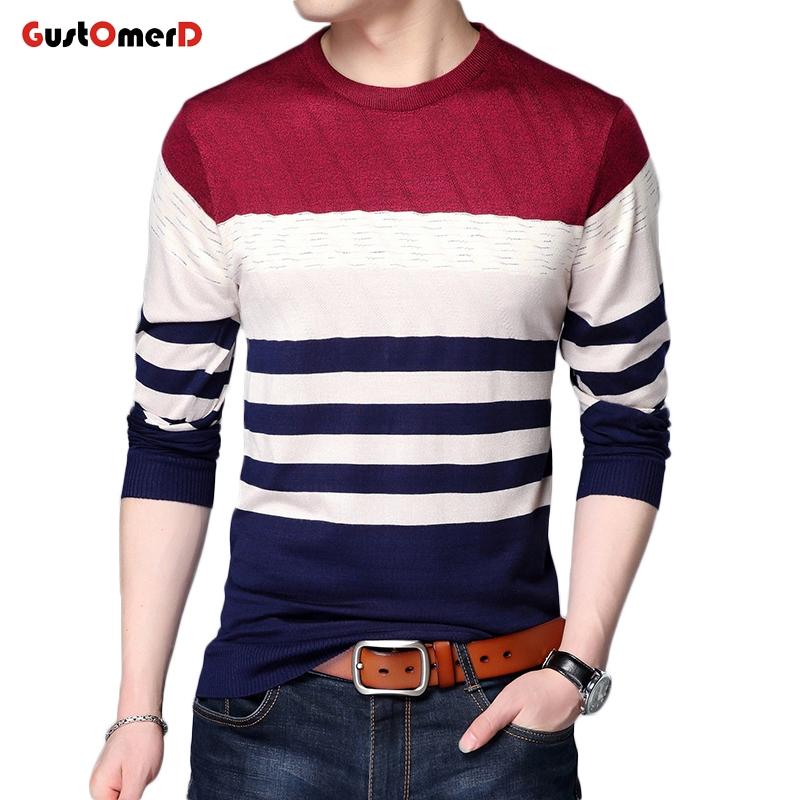 c73e1fcb00a0 GustOmerD New Fashion Men s Sweaters Striped Sweater Men Slim Fit ...